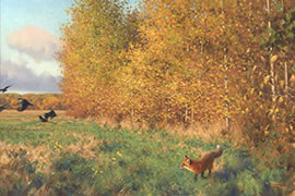 Fox And Crows Painting, autumn fields, fall colours, colors