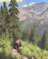 His Domaine, Grizzly bear painting, Rocky Mountains