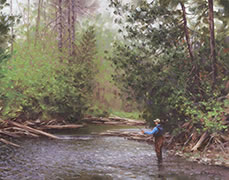 In the Moment, painting of salmon fisherman on river