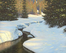 Les Eaux de Mars painting of river in winter
