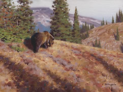 Near Bow Lake, painting of grizzly bear in rocky mountains