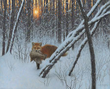 On a Still Winter's Eve, oil painting of fox with grouse in a forest at sundown