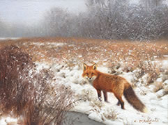 Red Fox In Wet Snow, Fox painting, winter country field with fox, snowy weather