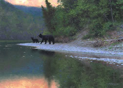 Bear oil painting, salmon river, black bear mother and cub, evening forest, wildlife art, nature painting