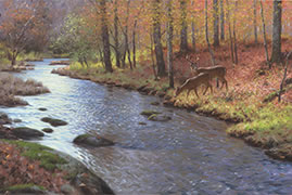 Soft River Sounds painting, woodland deer