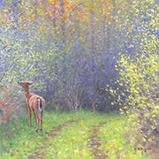 Springtime Doe, wildlife oil painting of white-tailed deer in spring woods, rural setting, spring colors