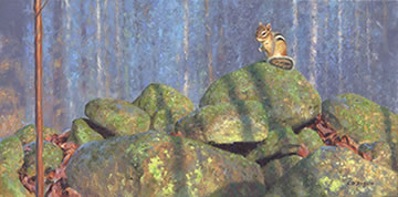 oil painting of chipmunk on stone wall in spring forest