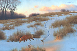 Fox Painting, Oil Painting, Red Fox in snowy winter field