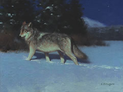 Un Loup la Nuit Painting, Wolf in snow in moonlight, winter night